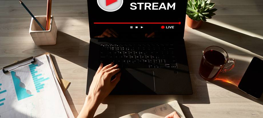 Live stream transmit or receive video and audio coverage over the Internet. Digital marketing and advertising concept.